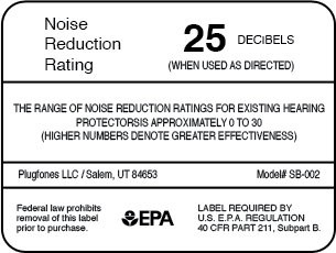 Plugfones Noise Reduction Rating (NRR) Label showing 25db reduction, ensuring hearing loss prevention when used as directed